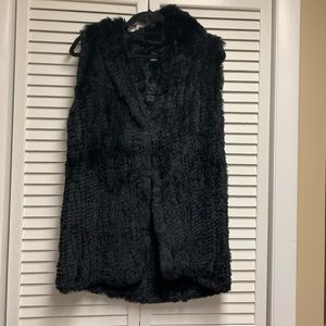 NEOT Saks Fifth Avenue Rabbit Fur Hooded Vest O/S